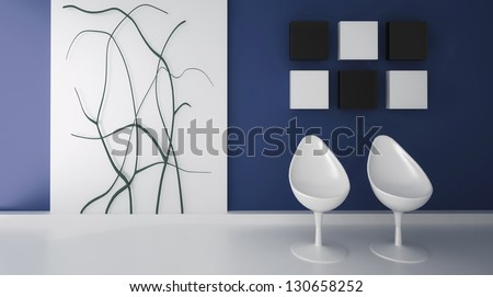a 3d rendering of two white egg chairs