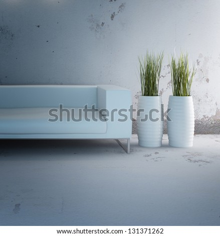 A 3D rendering of white sofa