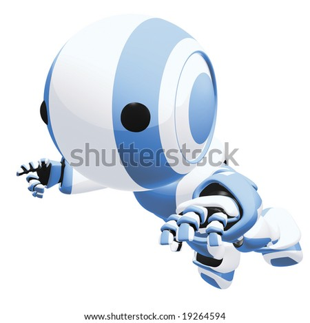 A 3d robot falling or jumping toward viewer. Dynamic pose. - stock photo