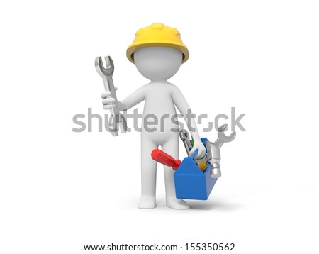 A 3d technician holding a toolbox, tools in the box - stock photo