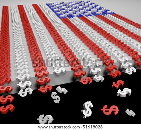 A 3d USA flag made from dollar signs with dollar signs falling off the edge. - stock photo