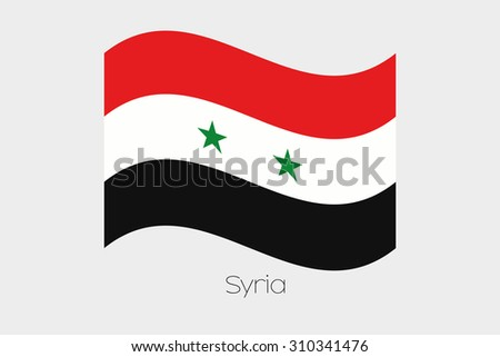 A 3D Waving Flag Illustration of the country of  Syria - stock photo