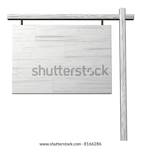 A 3d woody blank signboard isolated on white.
