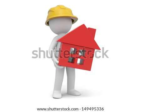 A 3d worker holding a house model - stock photo