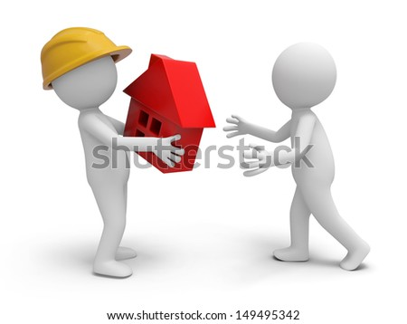 A 3d worker taking a house model to a person - stock photo