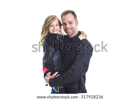 A Dad with is little daughter, isolated on white