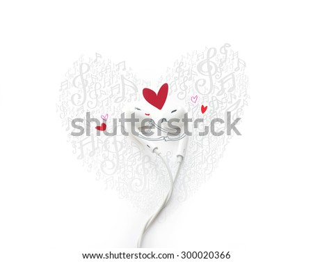 A dancing couple fall in love with painted, earphone lovely concept - stock photo