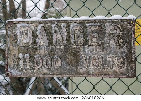A danger voltage sign - stock photo