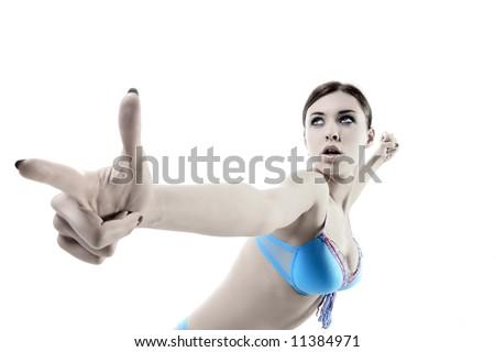 a dangerous slim lady in blue underwear - stock photo