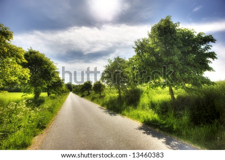A Danish country road - a warm, early summer day - stock photo