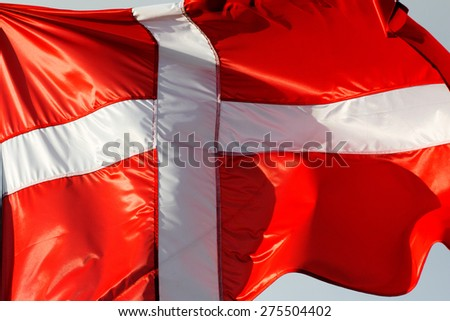 A Danish flag in the wind - stock photo