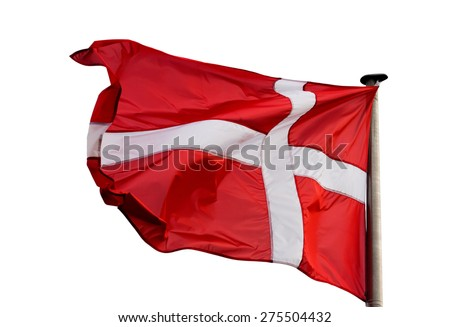 A Danish flag in the wind on white background - stock photo