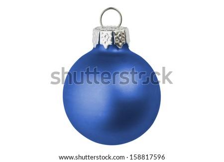 A dark blue christmas bauble. - stock photo