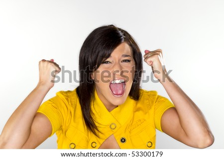 A dark haired model screaming, showing emotion