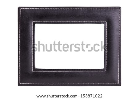 A Dark Leather Picture Frame Isolated on a White Background - stock photo
