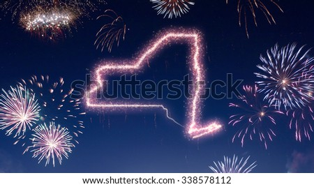 A dark night sky with a sparkling red firecracker in the shape of New York composed into.(series) - stock photo