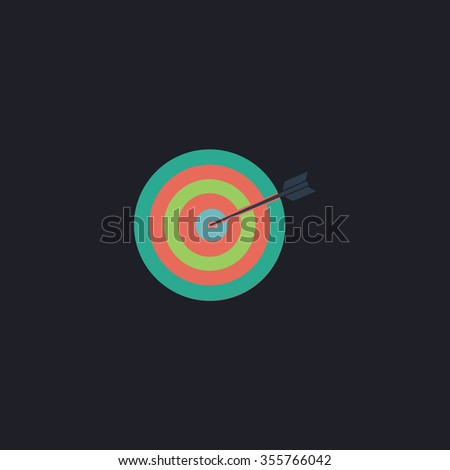 A dart is in the center of a dartboard. Target concept. Color flat icon on black background - stock photo
