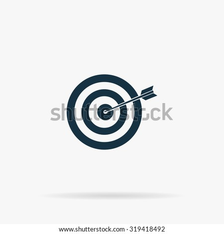 A dart is in the center of a dartboard. Target concept. Flat web icon or sign on grey background with shadow. Collection modern trend concept design style illustration symbol - stock photo