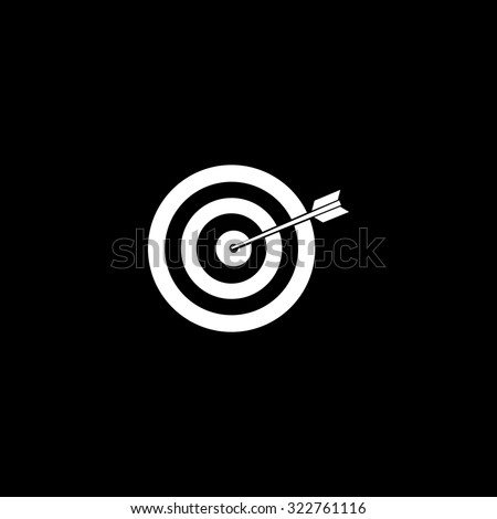 A dart is in the center of a dartboard. Target concept. Simple icon. Black and white. Flat illustration - stock photo
