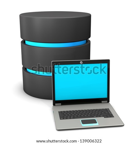 A database with notebook on the white background. - stock photo