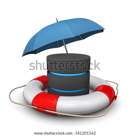 A databse with umbrella and lifebelt. White background. - stock photo