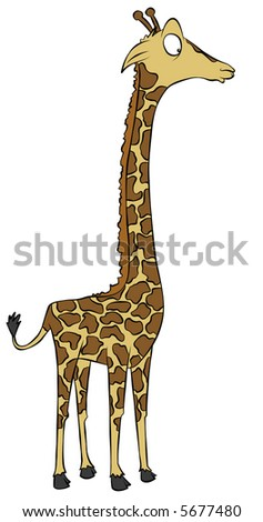 A dazed cartoon giraffe. - stock photo