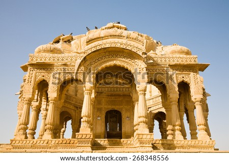 A decorated cenotaph in the site of Bada Bagh near Jaisalmer in Rajasthan, India