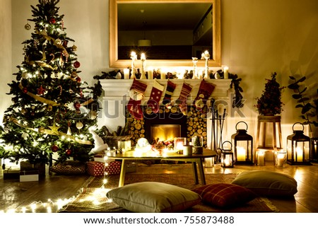 A Decorated Christmas Tree In The House