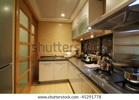 A decorated kitchen in modern style.