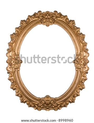 A decorative golden frame isolated on white - stock photo