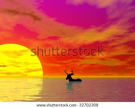A deer illustration concept of global warming on earth - stock photo