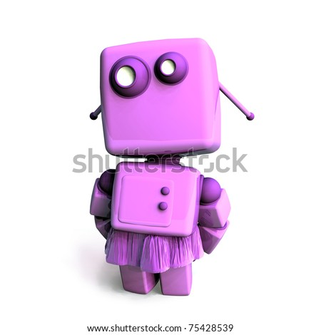 A delicate and shy pink 3D robot girl, isolated on white background - stock photo