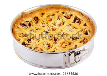 A delicious apple pie still in springform, isolated on white.