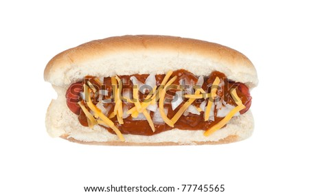 A delicious chili cheese dog with onions isolated on white - stock photo