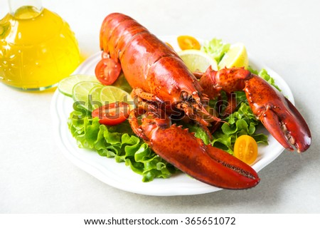 A delicious freshly boiled lobster  - stock photo