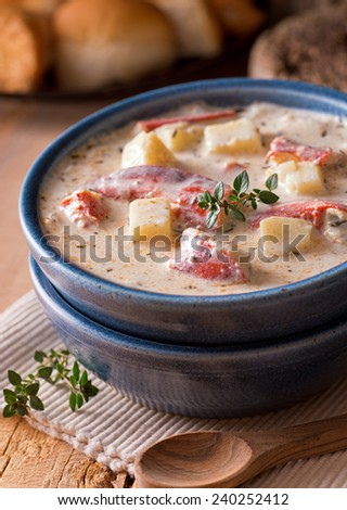 A delicious hot bowl of lobster chowder. - stock photo