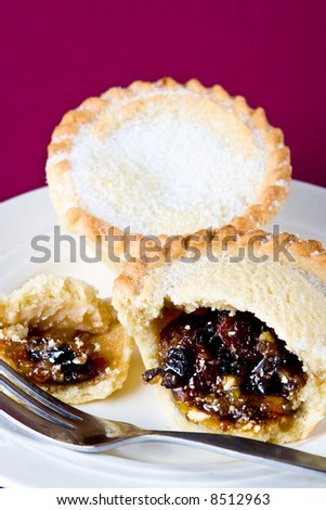 A delicious mince pie on a plate - stock photo