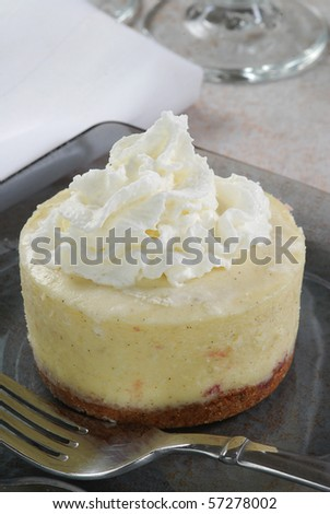 A delicious round mini cheesecake with whipped cream on top