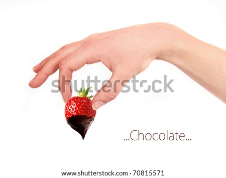 A delicious strawberry dipped in chocolate isolated on white - stock photo