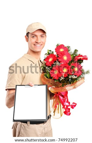 A delivery boy delivering bouquet of flowers and holding a clipboard isolated on white background - stock photo