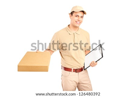A delivery person delivering a packet and holding a clipboard isolated on white background - stock photo