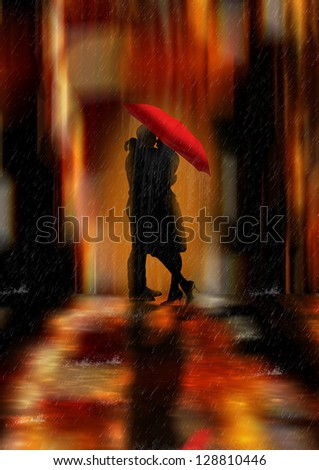 A Deluge Of Love Fantasy Love And Romance Greeting Card / background or wall art - stock photo