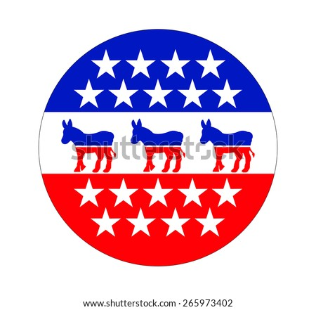 A Democrat button, sign for 2016 - stock photo