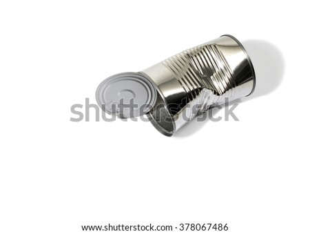 A Dented and Empty Food Can or Tin Can on a White Background - stock photo