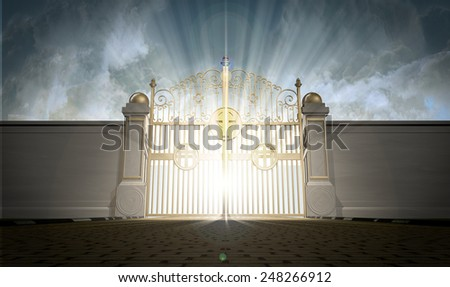 A depiction of the pearly gates of heaven closed with the bright side of heaven contrasting with the duller foreground  - stock photo