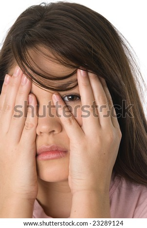 A depressed teenager isolated on white.  The image can be used for any kind of depression, sadness, frustration or problem inference. - stock photo