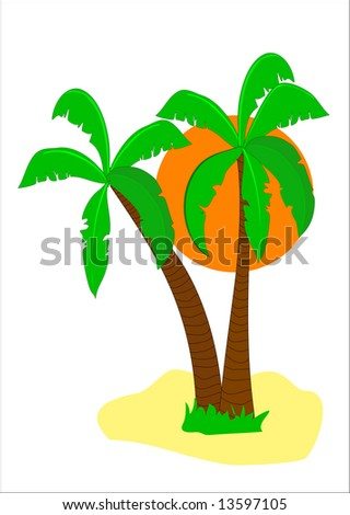 A desert island illustration with an orange sun behind palm trees isolated on white
