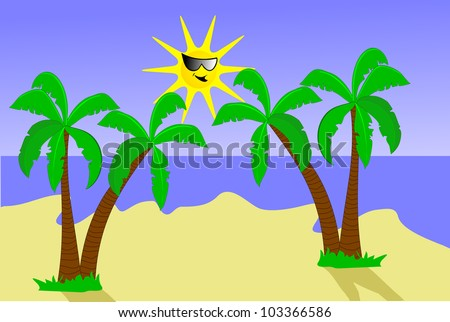 A desert island illustration with palm trees and a smiling cartoon sun