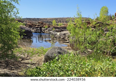 A desert lake with lush foliage is a surprising sight to find in an otherwise arid, barren landscape. - stock photo