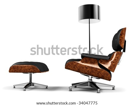 A designer chair and a lamp. Elegant and minimal interior design concept. 3D rendered in high resolution. - stock photo